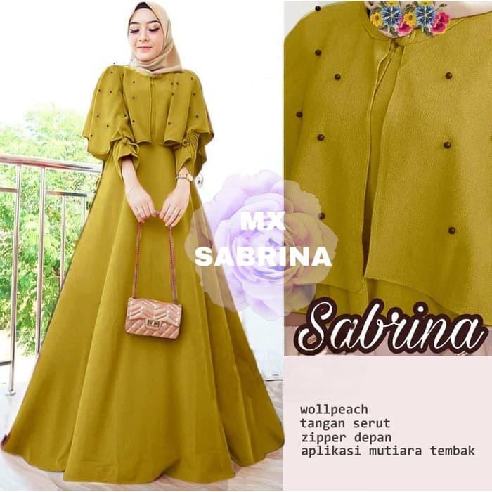 Baju Gamis Remaja Kekinian Kerudung Nyaman Maxi Sabrina Mutiara Mustard Gamis 0121 Sjv Baju 66atc Shopee Indonesia