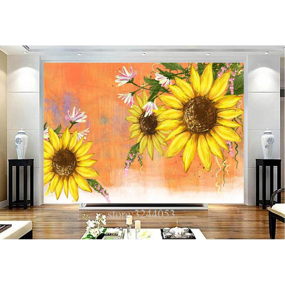 3d Modern Wallpaper Kustom Mural Foto Bunga Matahari Wallpaper Kamar Tidur Mural