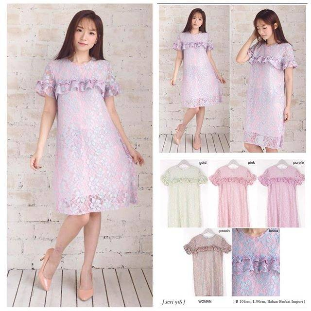 0918 Fashion Baju Outfit Pakaian Dress Gaun Big Size Jumbo Brukat Lengan Pendek Cewek Wanita Murah