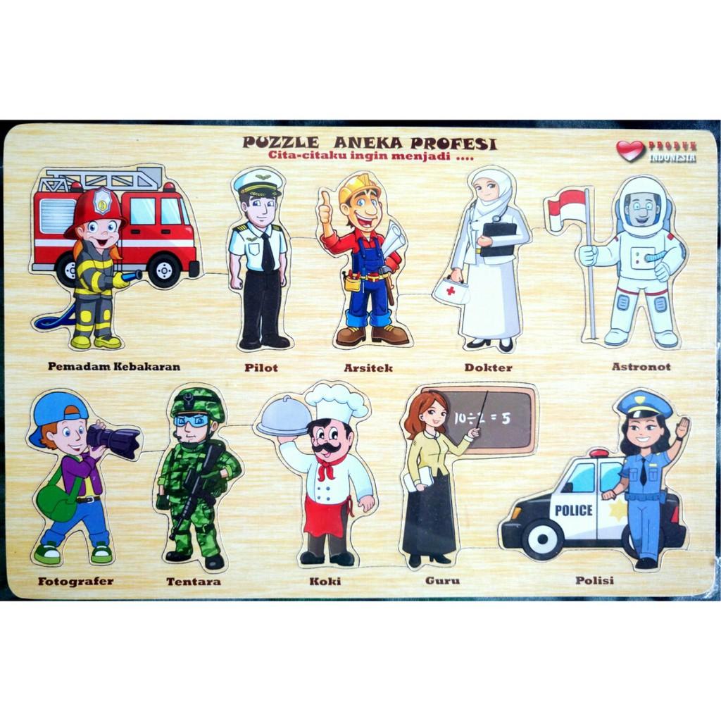 Puzzle Edukasi Tema Transportasi Hewan Buah Profesi Binatang Bendera Sholat Fuzzel Montessori