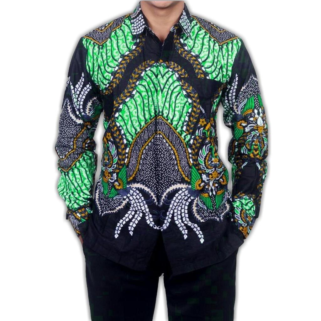 kemeja batik pria lengan panjang eksklusif murah tapi mewah motif bintang rantai terlaris #029