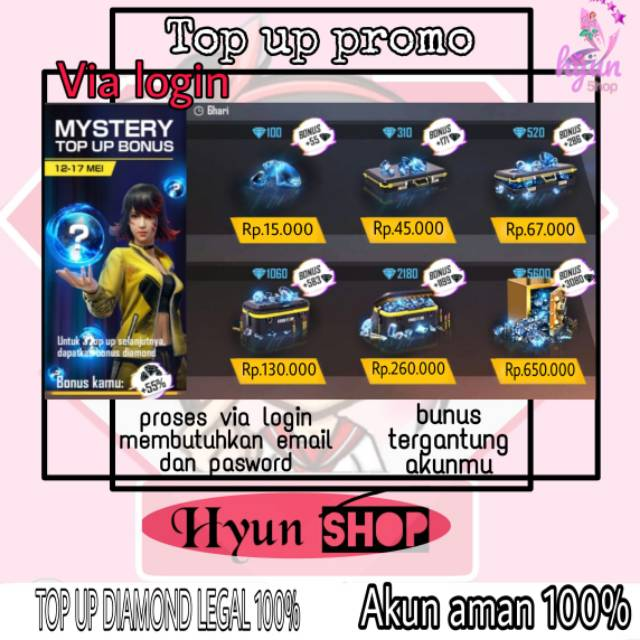 TOP UP DIAMOND FF MURAH VIA LOGIN LEGAL 100% AMAN TERPERCAYA