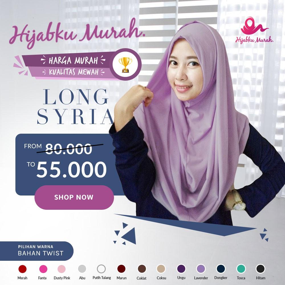 Hijab Instan Long Syria/Jilbab Praktis/Kerudung Simpel/Jilbab Instan | Shopee Indonesia