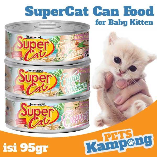 Makanan Kucing Super Cat Kaleng 95gr Adult Kitten Baby Shopee Indonesia