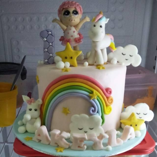Kue ulang tahun unicorn lol