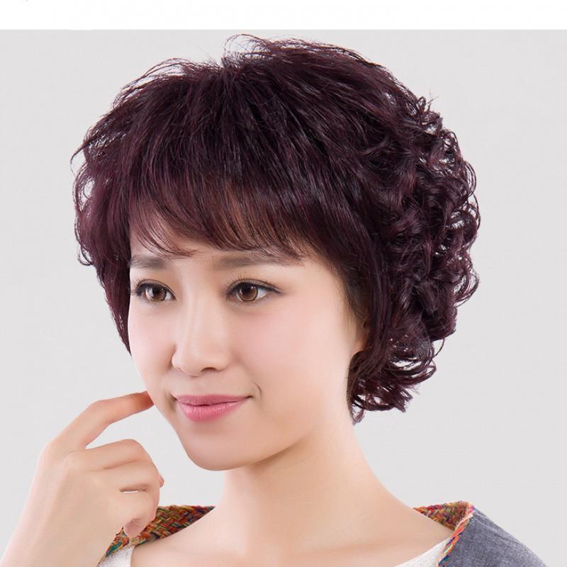 Wig wig perempuan rambut pendek pendek keriting rambut rambut rambut asli set wanita setengah baya d