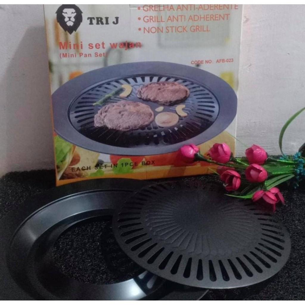 GRILL PAN BBQ BULAT BAKARAN PEMANGGANG ANTI LENGKET SMOKELESS PANGGANGAN ROASTER