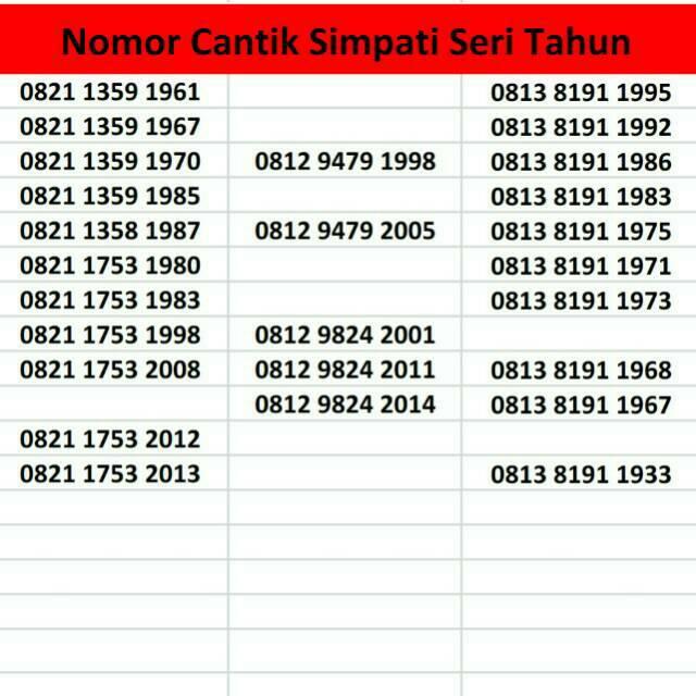 Nomor Cantik Telkomsel Kartu Perdana Nomer Simpati Loop | Shopee Indonesia
