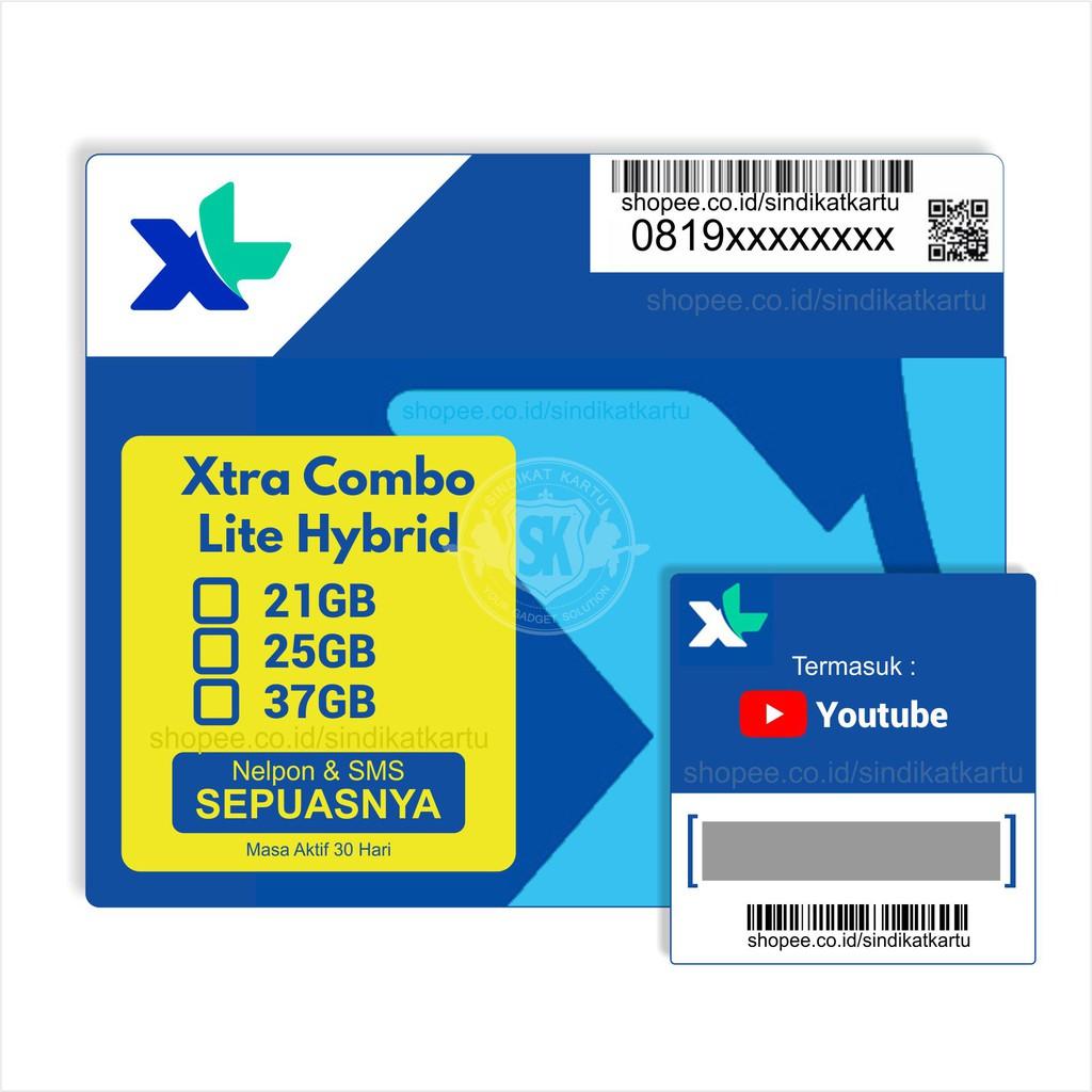 XL Xtra Combo Lite Hybrid 21GB/25GB/37GB 30Hari (+Xtra