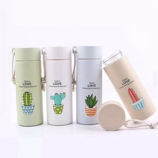 Botol Minum Kaca Motif Cactus , Fresh Glass Water Cup ...