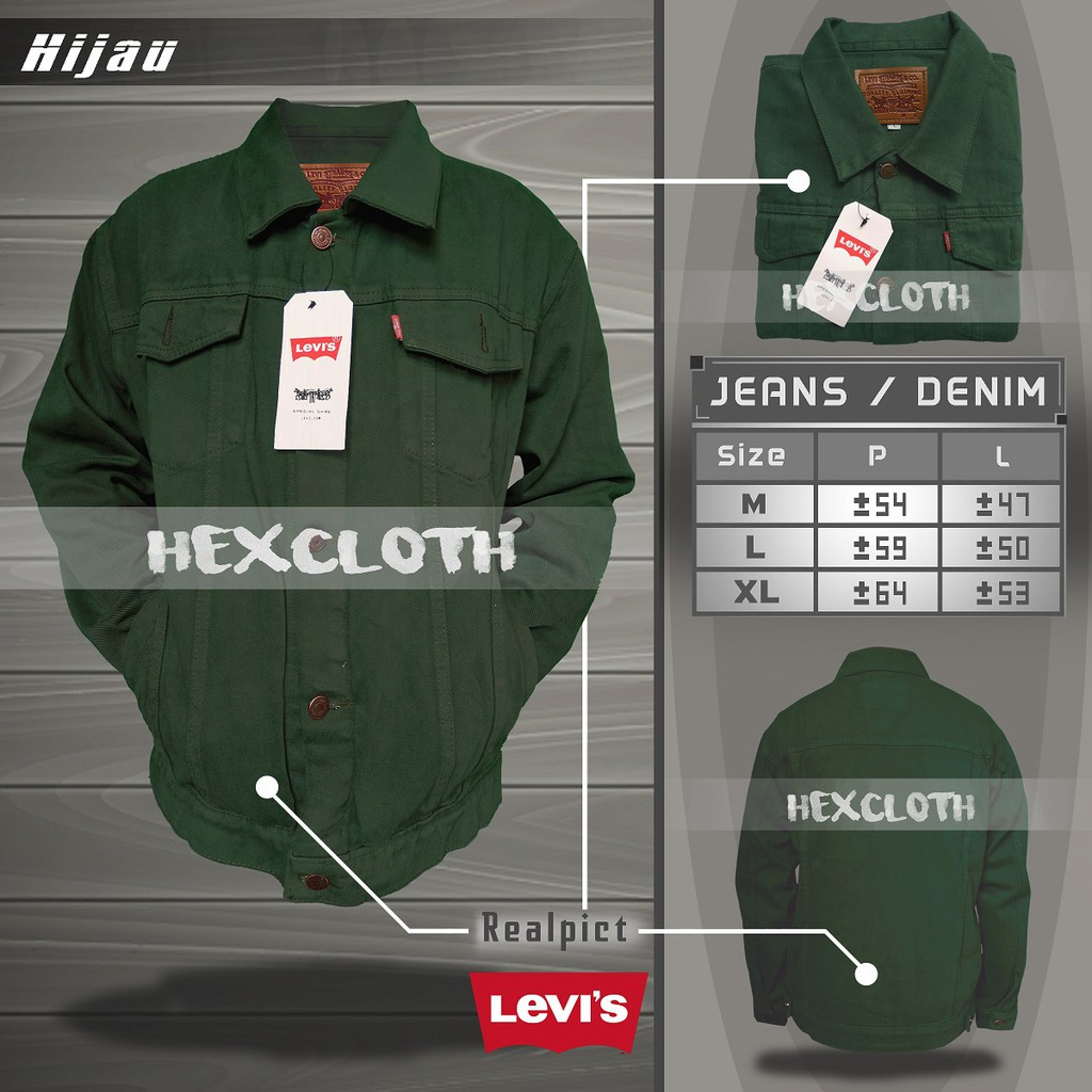Jaket Jeans Denim Premium Levis Pria Wanita Cowo Cewe Unisex Oversize Keren - Hijau Army ...