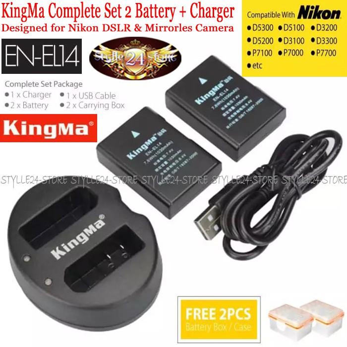 KingMa Paket Complete Battery Charger Set EN-EL14 Nikon D5200 D3200 D3100 D5100 D5300 D5500 etc | Shopee Indonesia