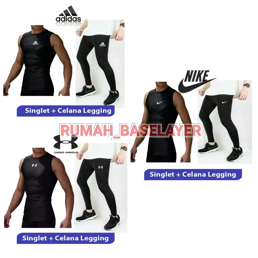 Paket Manset Baselayer Tanpa Lengan Sleeveless Dan Celana Legging Panjang Daleman Futsal Gym Fitness Shopee Indonesia