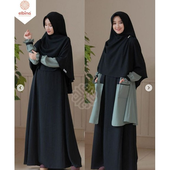 [ Gamis Terbaru ] Elbina Set Gamis + Outer + Khimar   Gamis Elbina   Elbina Hijab   Harga Grosir Set