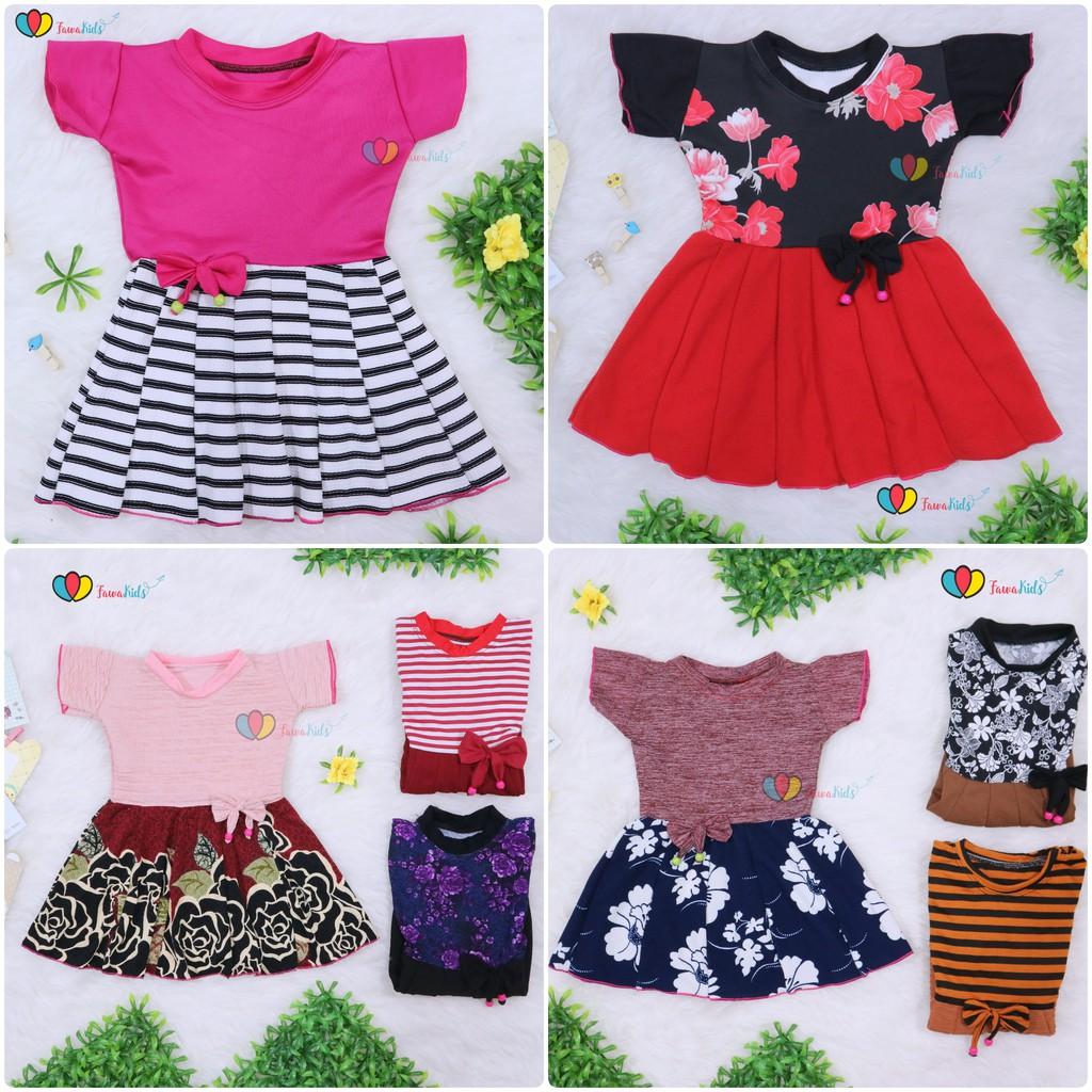 Dress Zaskia uk 1-2 Tahun   Dres Lengan Balita Anak Perempuan Import Motif  Baju Harian d017eb5ffc