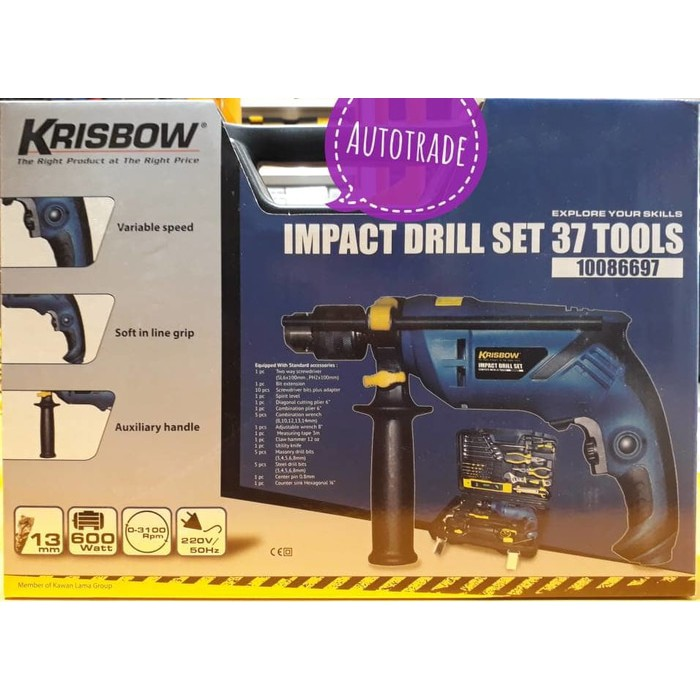 Mesin Bor Listrik Beton Impact Drill Set Krisbow ORIGINAL 37 Pcs Tools | Shopee Indonesia