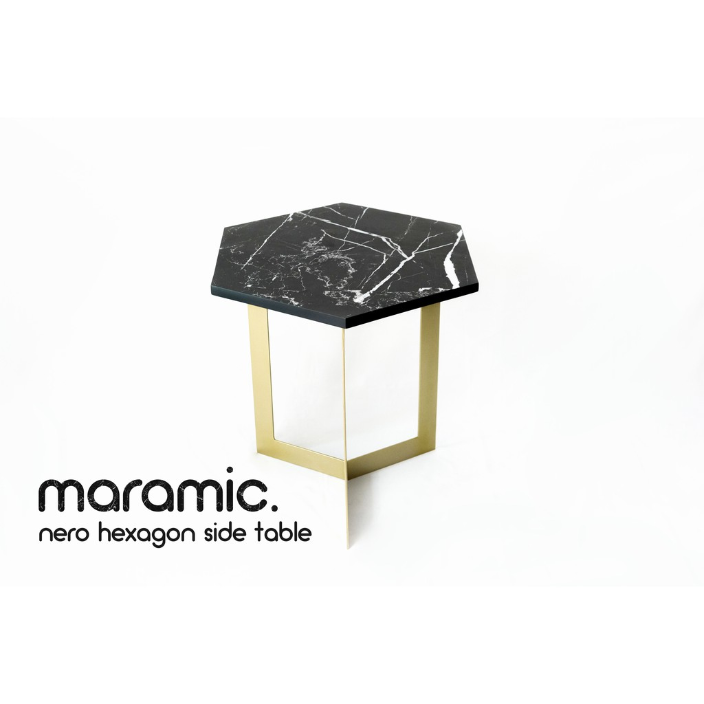 Nero Hexagon Side Table Meja Samping Hexagon Nero 50x50