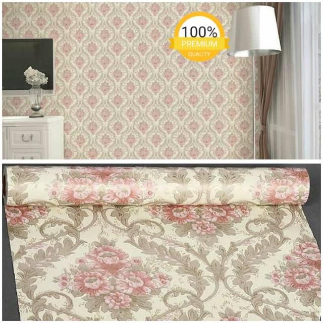 Wallpaper Dinding Murah Ruang Tamu Kamar Tidur Gold Batik Pink