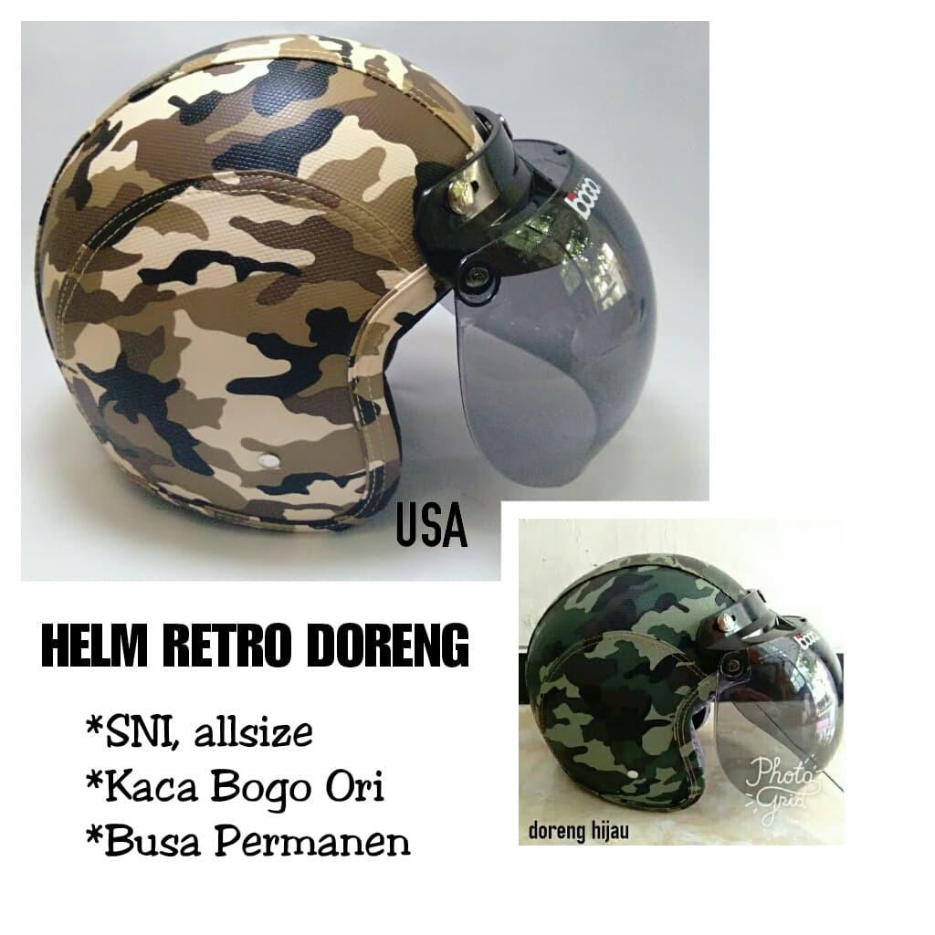 Helm Standart Retro Army kaca Bogo Ori Free, Helm ABRI, Helm Doreng, Helm Loreng | Shopee Indonesia