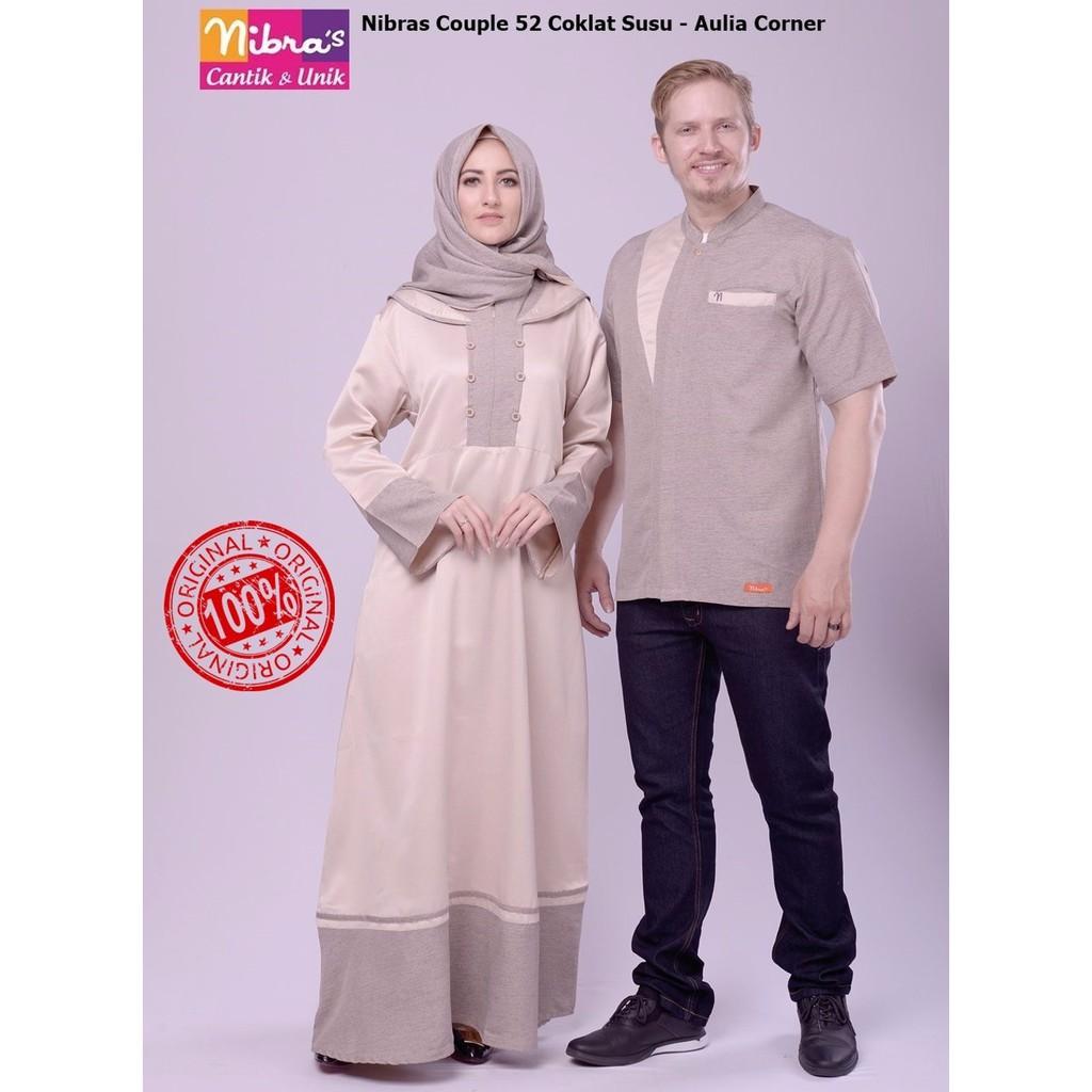 Ekslusif Baju Muslim Keluarga Nibras Baju Couple 52 Coklat Susu