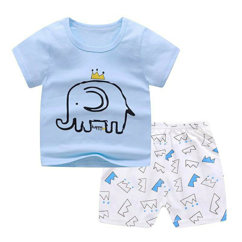 Setelan Baju Anak Motif Gajah Warna Biru Putih