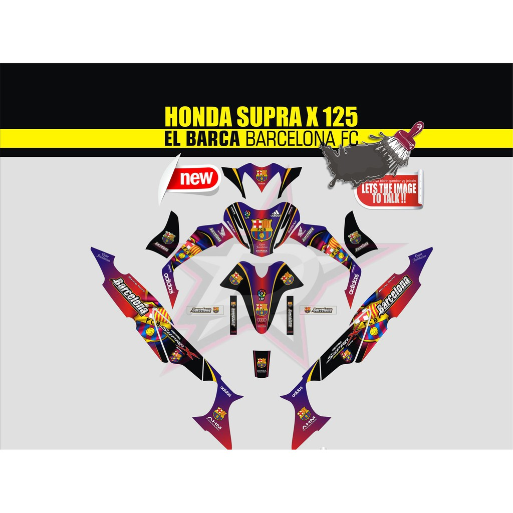 Sticker striping sticker motor supra x 125 full body qlty a barcelona shopee indonesia