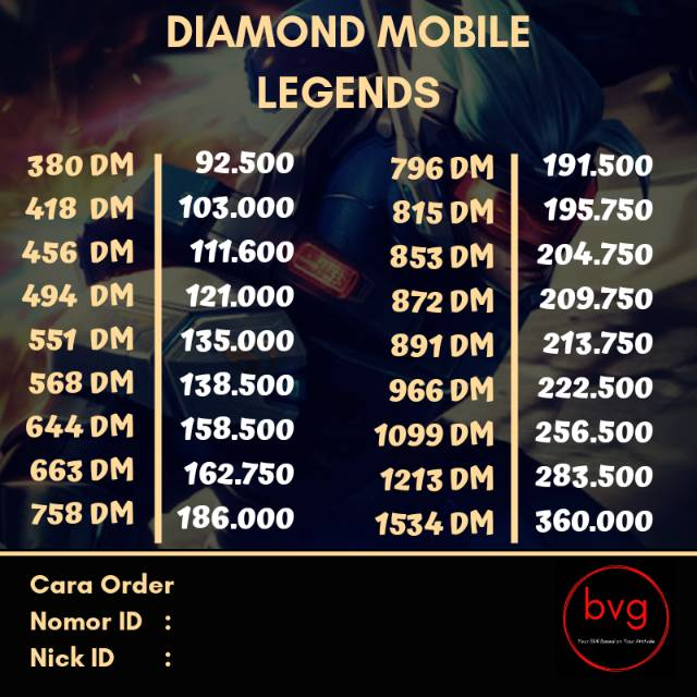[FAST] TOP UP VARIASI DIAMOND MOBILE LEGEND VIA NOMOR ID & SERVER LEGAL BY  BVG