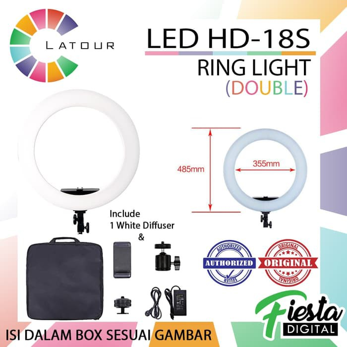 RINGLIGHT LED LATOUR HD18 dimmer 5600k for kamera dan smartphone | Shopee Indonesia