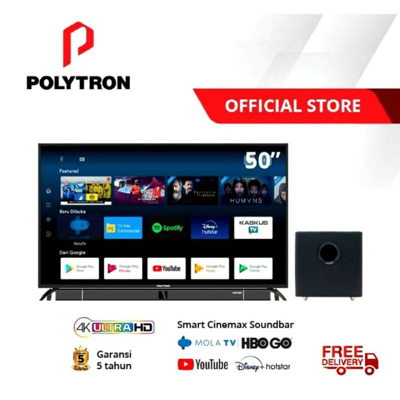 Led Tv 50 Inch Polytron 50BUA8859 Smart Mola 4k Uhd Tv Cinemax Soundbar PLD-50BUA8859