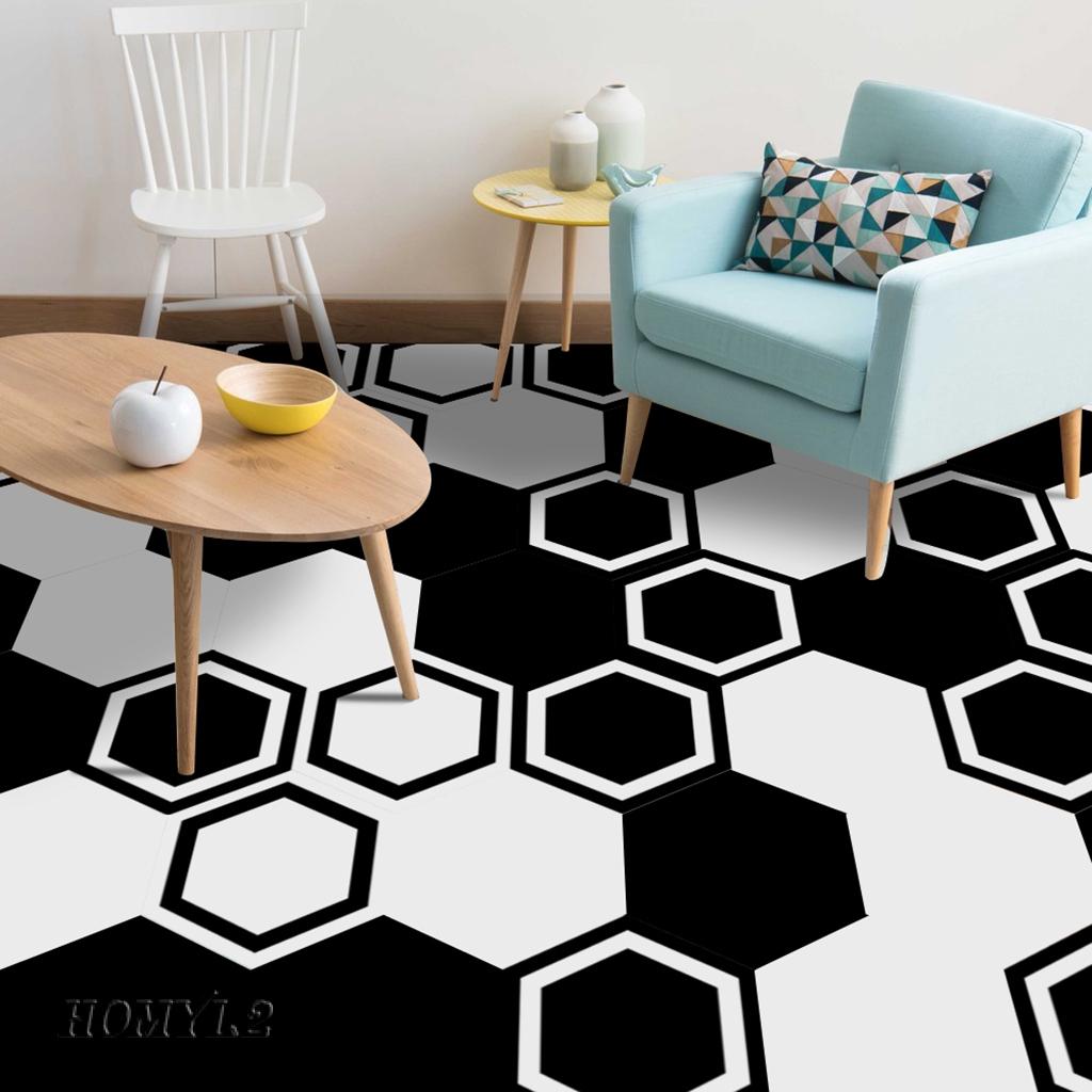 Homyl2 10pcs Tiles Sticker Floor Wall Art Decor Self Adhesive Bedroom Shopee Indonesia