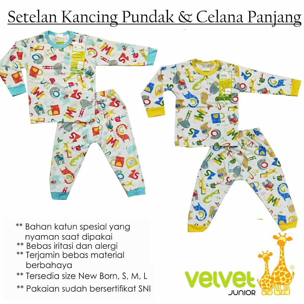 Size Xl Setelan Piyama Baju Celana Panjang Bayi Velvet Junior Katun S Shopee Indonesia