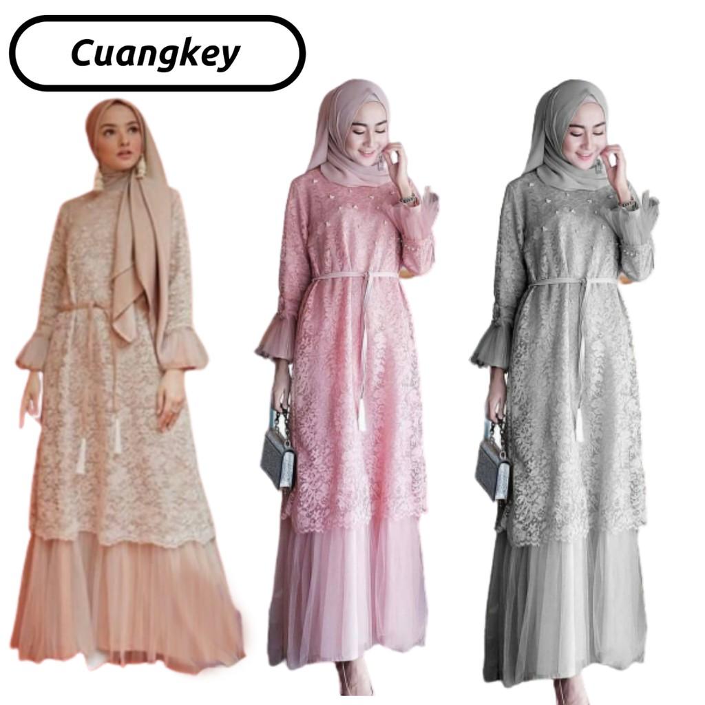 Gamis Brokat Gamis Terbaru 2020 Modern Gamis Remaja Long Dress Wanita Shopee Indonesia