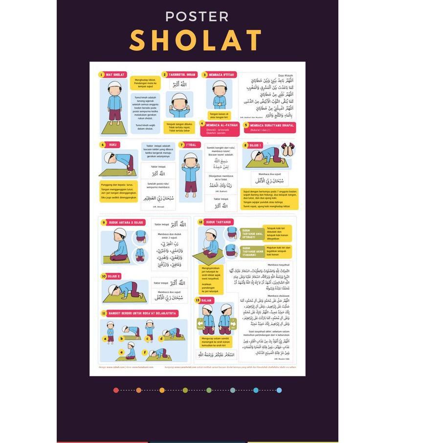 Us Paket Poster Belajar Ibadah Sholat Dan Wudhu Sesuai Sunnah Untuk Anak Perempuan Kemasan Baru ★★