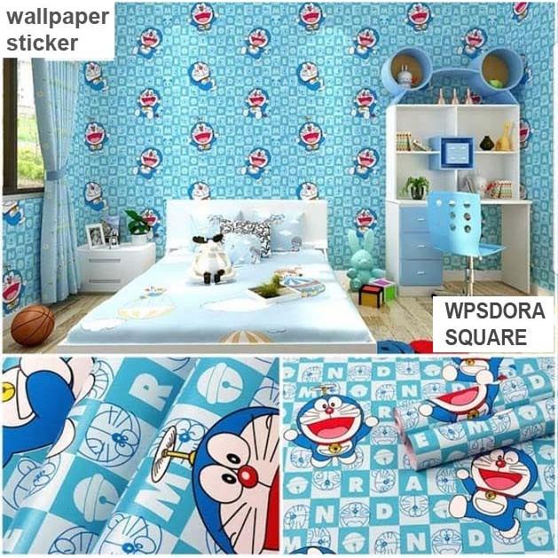 Wallpaper Stiker Doraemon Biru Sticker Dinding Kamar Tidur Anak Ruang Tamu Keluarga Dekor Rumah Cafe Shopee Indonesia