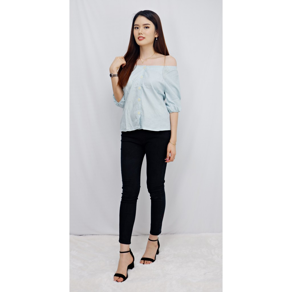 CHAMELE 1944 - SABRINA SMOCK BLOUSE GOOD QUALITY TOP BLOUSE | Shopee Indonesia