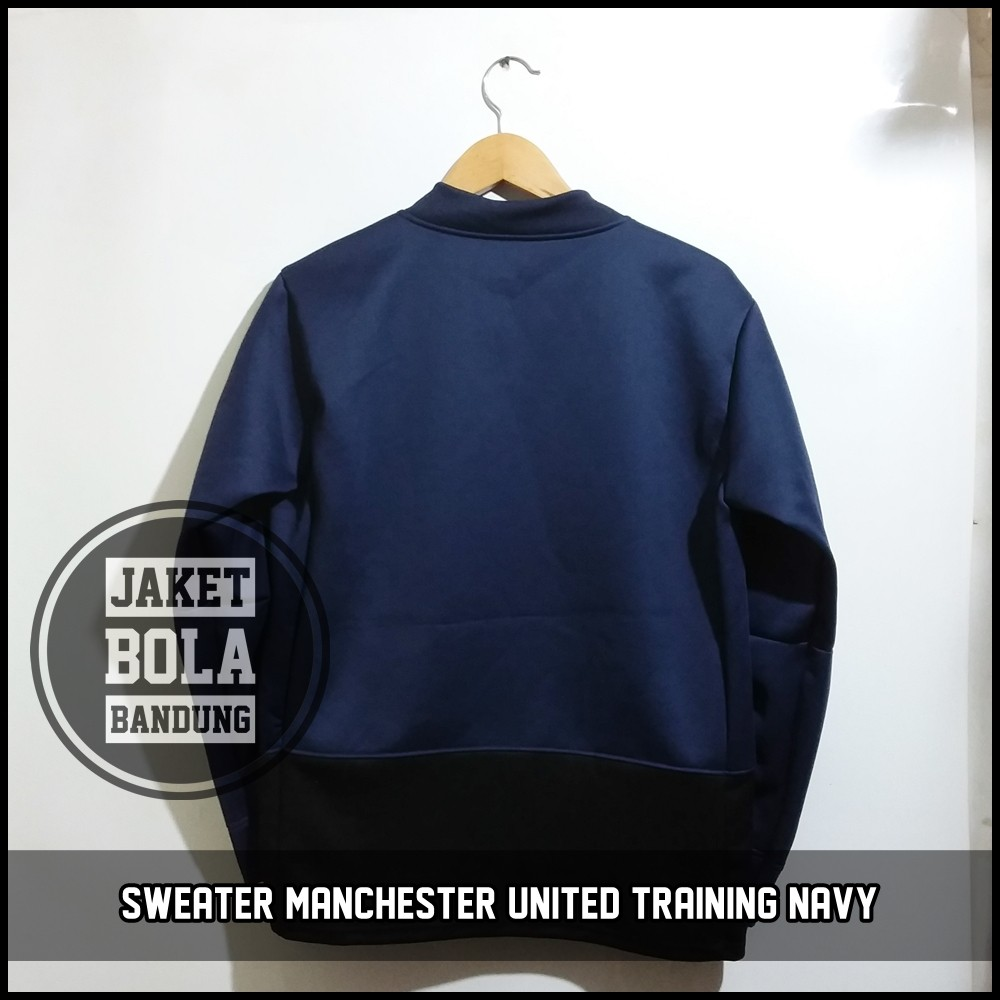 SWEATER MANCHESTER UNITED TRAINING NAVY FOTO ASLI GRADE ORI