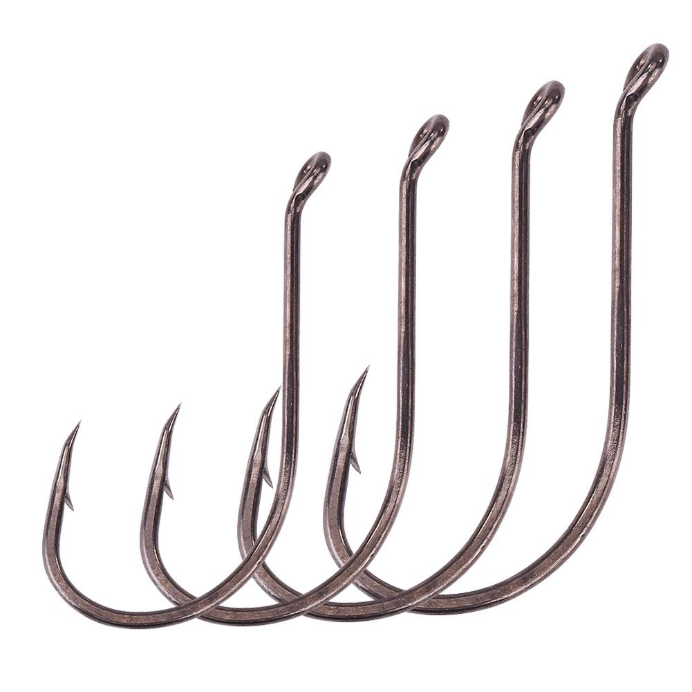 50Pcs High Carbon Steel Carp Fishing Hook Barbless Saltwater Fresh Water Hook DS
