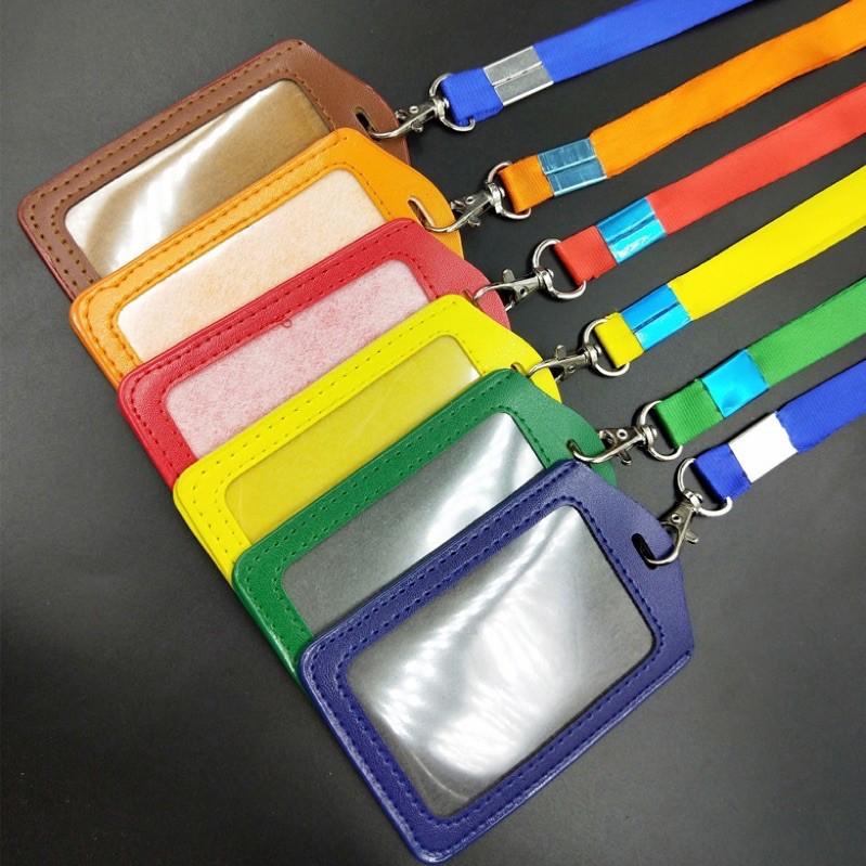 name tag id card holder kulit pu gantungan kalung