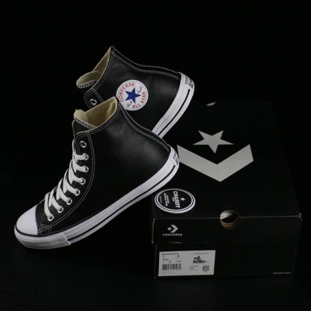 Converse Chuck Taylor All Star High Leather Black White Shopee Indonesia