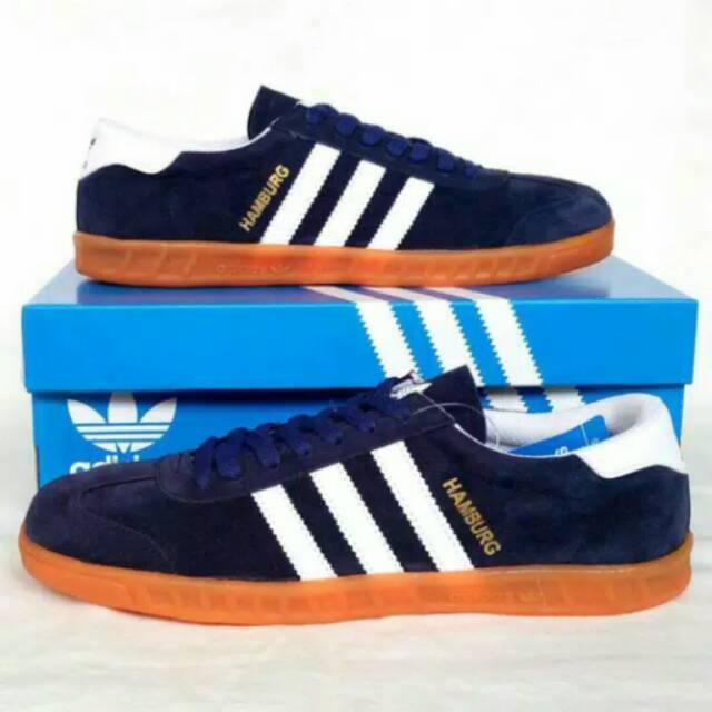 112396490f0382 Sepatu Adidas Hamburg Biru Putih Sneakers Casual Formal Pria Sepatu Sekolah  Kerja Murah