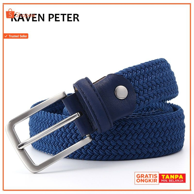 Women Men Belt Woven Stretch Braided Elastic Leather Buckle Luxury Canvas Belts