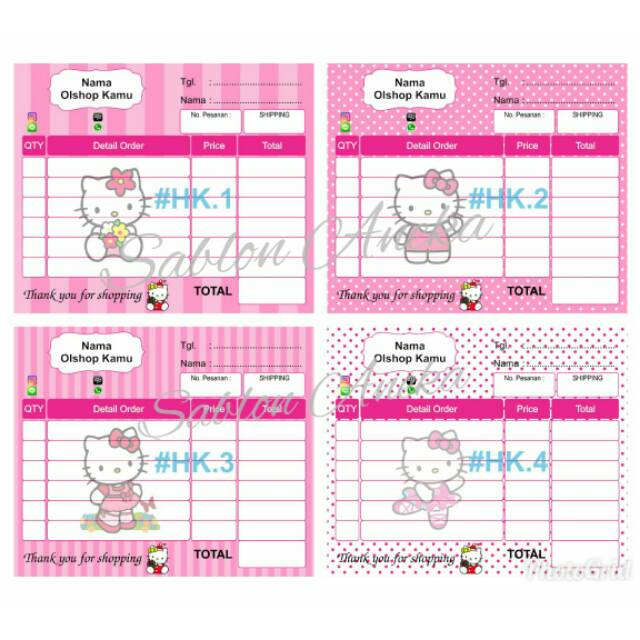 Nota Olshop Karakter Hello Kitty