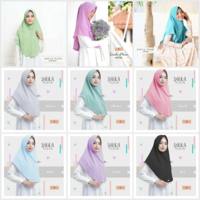 Khimar Hijab Bergo Sheila Plain Emmaqueen Shopee Indonesia