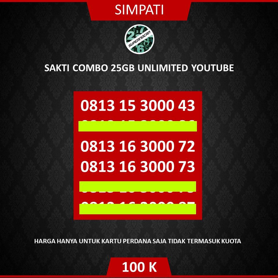 NOMOR CANTIK SIMPATI SERI 3000 RAPIH - KARTU SAKTI 25GB UNLIMITED YOUTUBE - 4G Ready