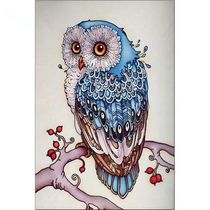 Diy Lukisan Diamond 5d Dengan Gambar Burung Hantu Warna Biru