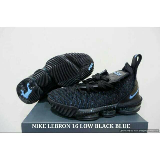 fc55911894e75 SEPATU NIKE LEBRON 16 LOW BLACK BLUE
