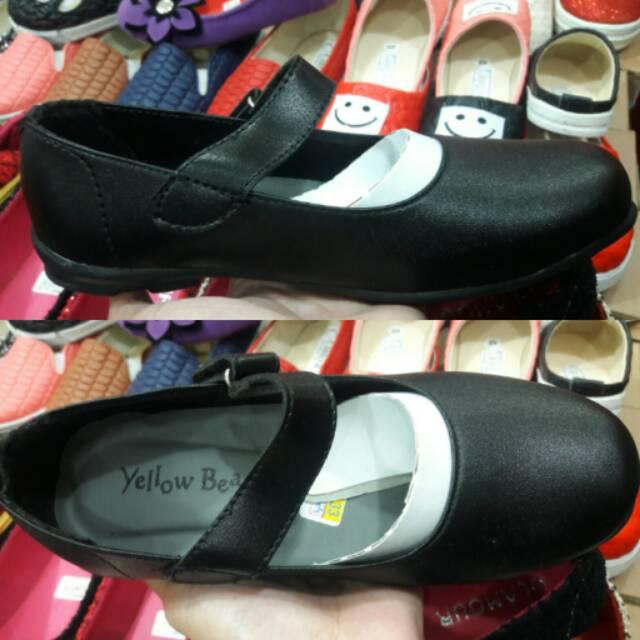Sepatu Flat Anak Perempuan Hitam Polos Sepatu Anak Sekolah Tanpa