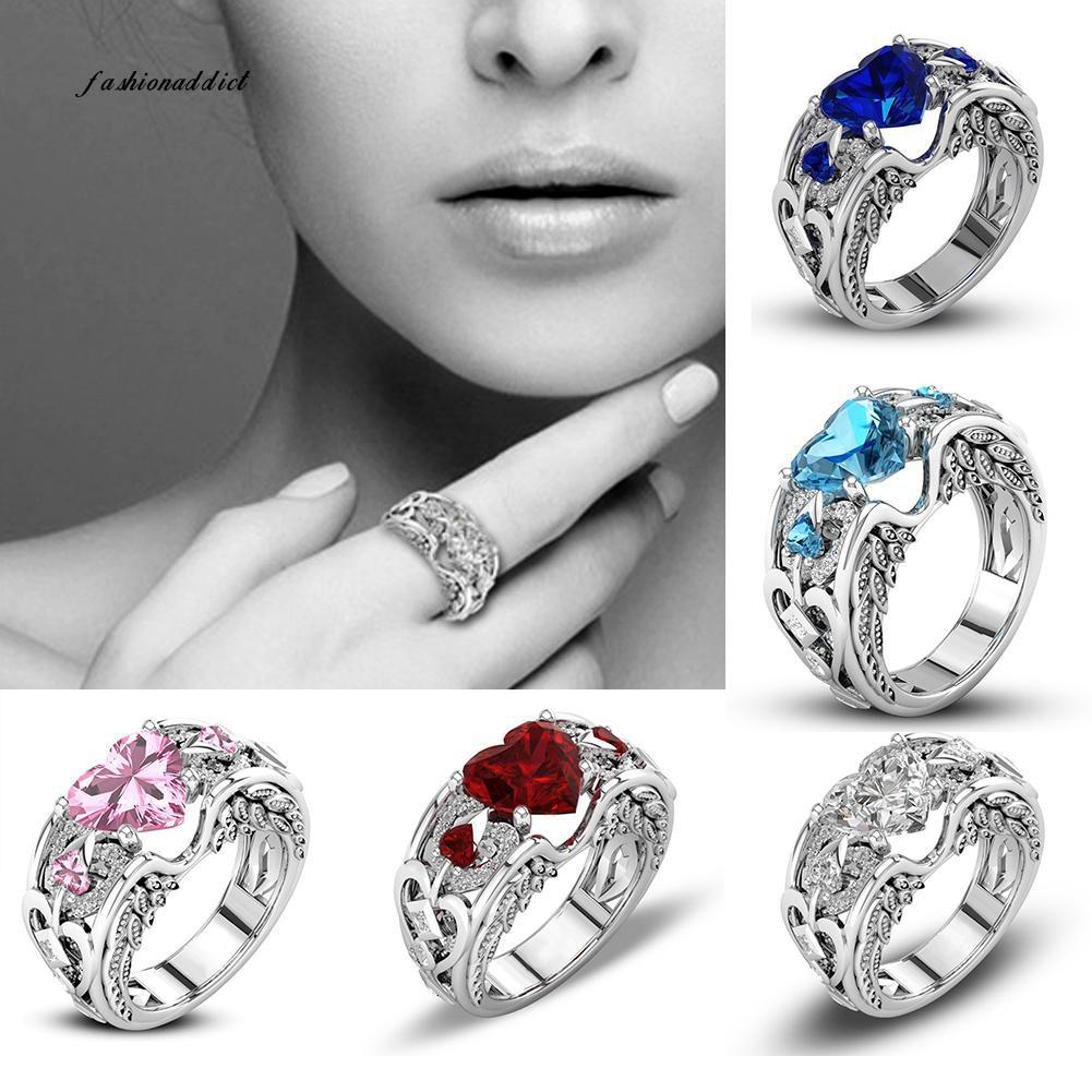 Perhiasan Cincin Pernikahan Stylish Bentuk Hati Hias Berlian Imitasi untuk Wanita | Shopee Indonesia