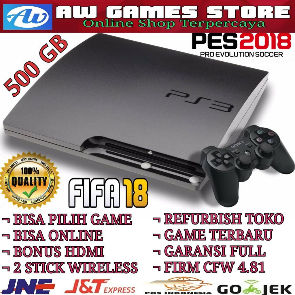 Sony Playstation3 Ps3 Slim 500gb Full Games Injek 2 Stick Wairelles Playstation 3 Super Hitam 500 Gb