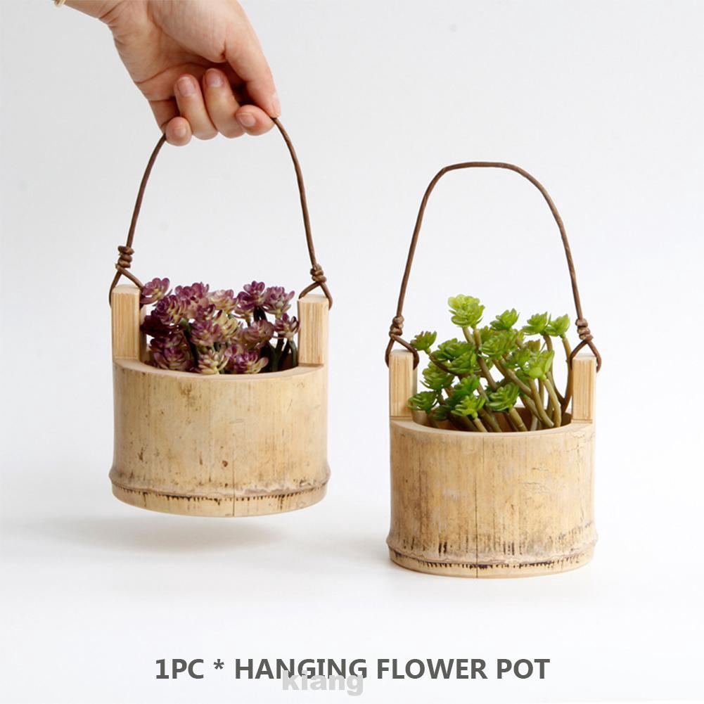 Pot Bunga Model Gantung Bahan Bambu Untuk Dekorasi Balkon Kantor Dan Rumah Shopee Indonesia